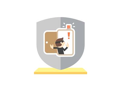 DDoS Icon ddos flat illustration burglar hosting alert protection badge