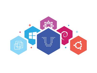 Feature OS's os icon logo windows flat hexagon feature ubuntu debian centos vmware hosting
