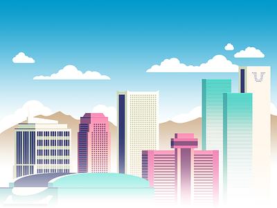 Phoenix Skyline (Day Version) phoenix arizona hosting skyline building flat cloud city day