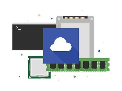Unused Server Stuff ssd cpu server command prompt ram storage cloud flat illustration
