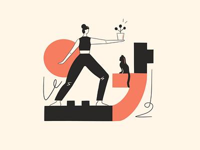 Yoga 요가 cat yoga pose athome design geometic lineart yoga ipadart women in illustration illustration plants