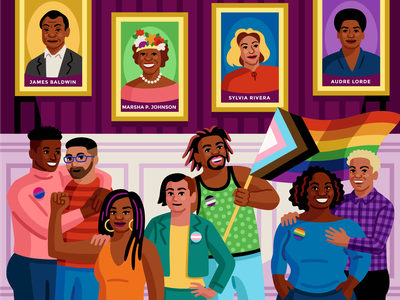 Pride Posters for Convene digital celebration crowd lgbtqia trans gay queer pride vector illustration