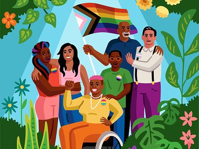 Pride Posters for Convene celebration garden plants crowd lgbtqia trans gay pride queer digital art vector illustration