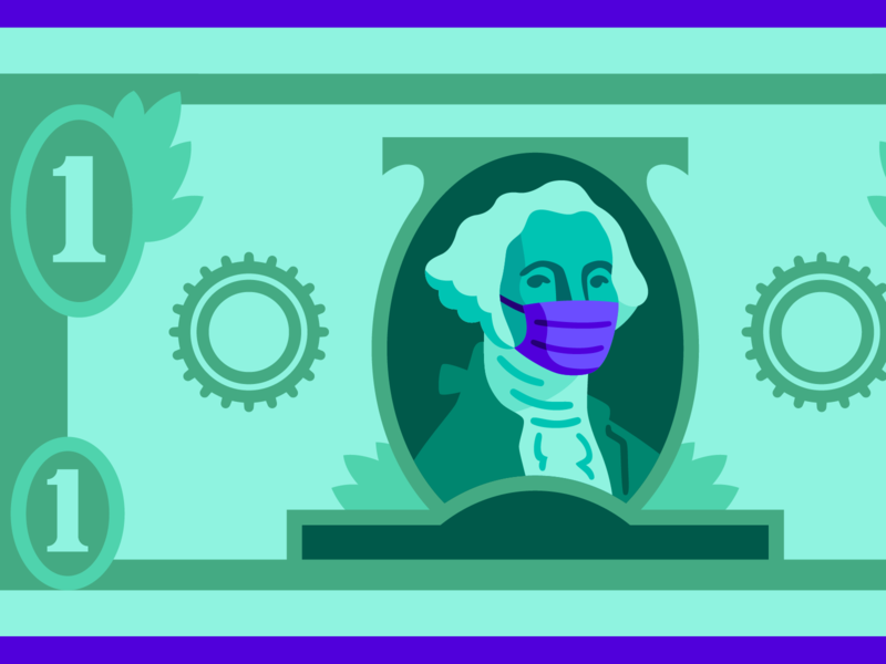 theSkimm: What Coronavirus Could Mean for Your Wallet face mask covid19 coronavirus dollar money editorial vector illustration