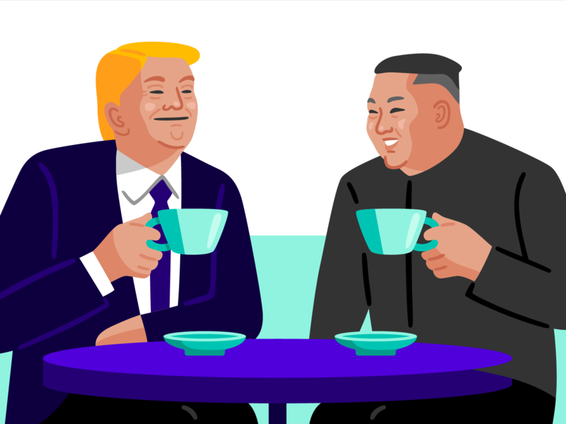 theSkimm: US-North Korea Summit current events north korea kim jong un trump editorial vector illustration