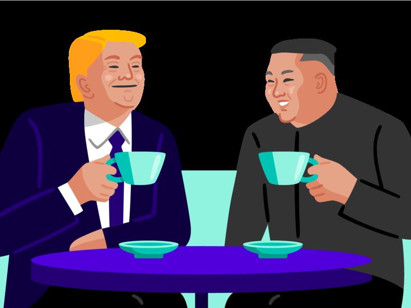 theSkimm: US-North Korea Summit current events north korea kim jong un trump editorial vector illustration