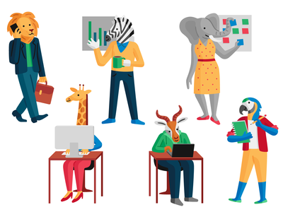 Office Animals parrot giraffe elephant zebra lion tech animals workers office character design vector illustration
