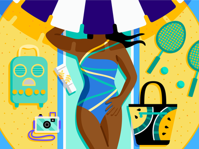 theSkimm: Beach Picks summer editorial beach vector illustration