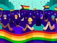 theSkimm: LGBTQ+ Rights crowd editorial parade pride lgbtq queer vector illustration