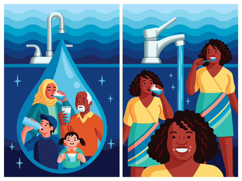 Colorado Department of Public Health psa government water health vector poster illustration