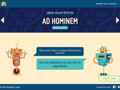 fallacydetected.com logic argument discourse debate logical fallacies robots web design website illustration