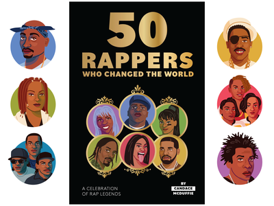 50 Rappers Who Changed the World publishing book hiphop rap portrait vector illustration