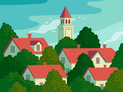 Red Roofs in the Trees procreate trees neighborhood landscape illustration