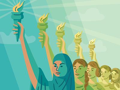 #NoBanNoWall statue of liberty immigrant muslim politics editorial vector illustration