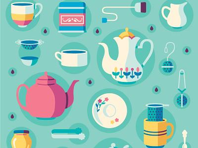 Tea Paraphernalia pattern beverage teapot teacup tea vector illustration