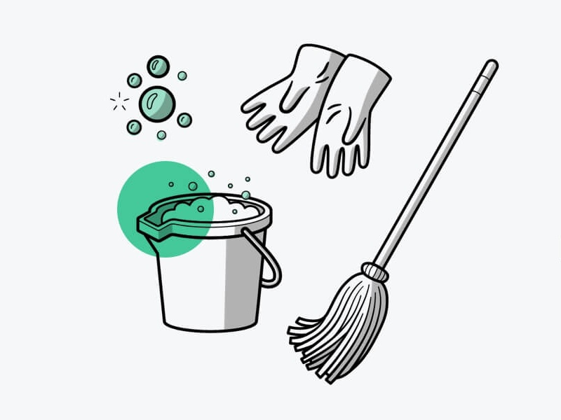 When not to DIY gloves mop suds bucket cleaning blog editorial vector illustration