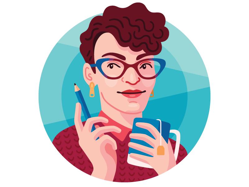 New self portrait self portrait tea pencil vector illustration