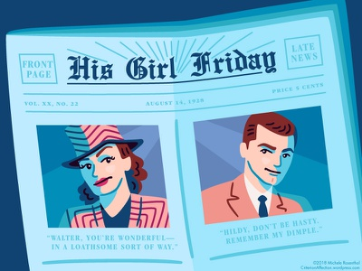 His Girl Friday romantic comedy film newspaper vector illustration