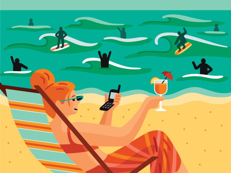 Dating Detox ocean surfing relaxation beach magazine editorial vector illustration
