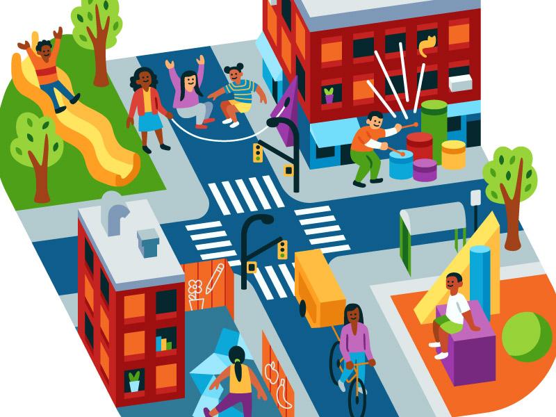 Play Everywhere city playground play children kids vector illustration