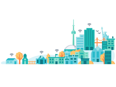 SmartBuildings statue of liberty cn tower wifi city town buildings vector illustration