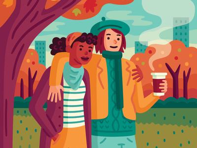 Autumn Stroll lesbian seasonal outdoors autumn fall vector illustration