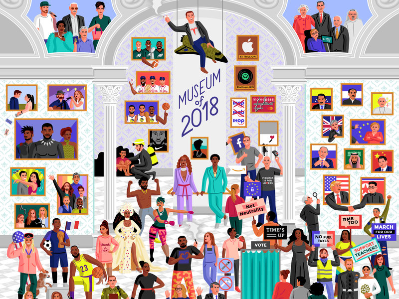 Museum of 2018 editorial current events 2018 vector illustration