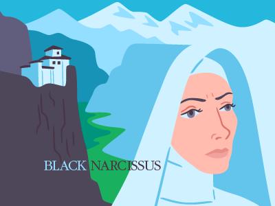 Black Narcissus illustration vector film nun mountains landscape