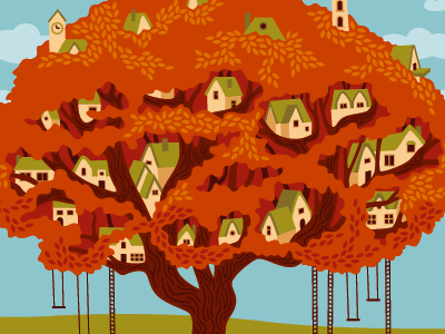 Tree Town illustration vector buildings town tree fall autumn oak landscape village houses