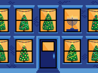 Comparing Hanukkah to Christmas editorial hannukah christmas holidays digital vector illustration
