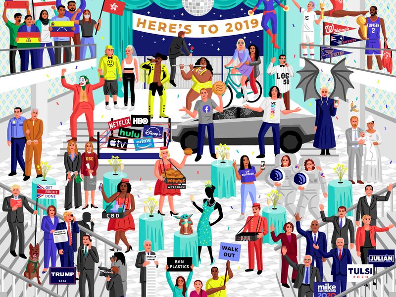 Here's to 2019 news current events 2019 editorial vector illustration