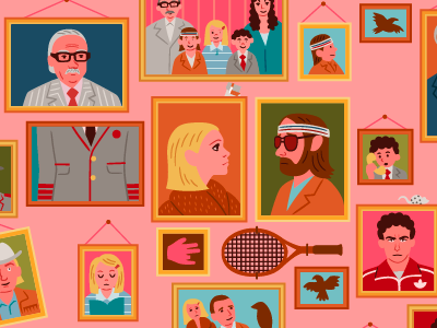 The Royal Tenenbaums illustration vector film criterion family picture frames wes anderson