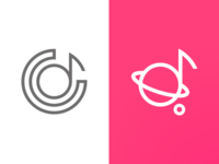 Cosmic note. Music space logo for vocal studio