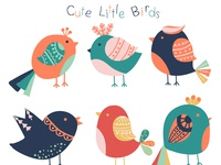 Colorful little bird collection.