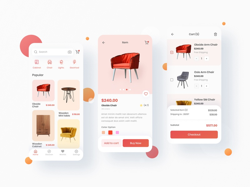 Antk Home furniture uxui ios app design ux design minimal shopping interior clean furniture app ui design