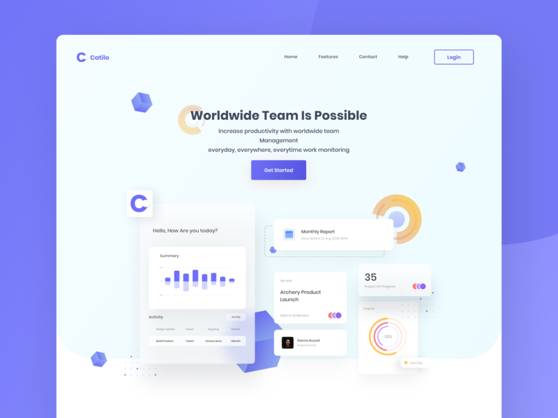 Catilo Task Management Landing Page clean design webdesign desktop clean designs clean ui homepage branding header landing page ui flat website design