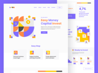 Gron invest landing page geometic geometric art designs typography illustration design web hero homepage header clean landing page flat website design ui