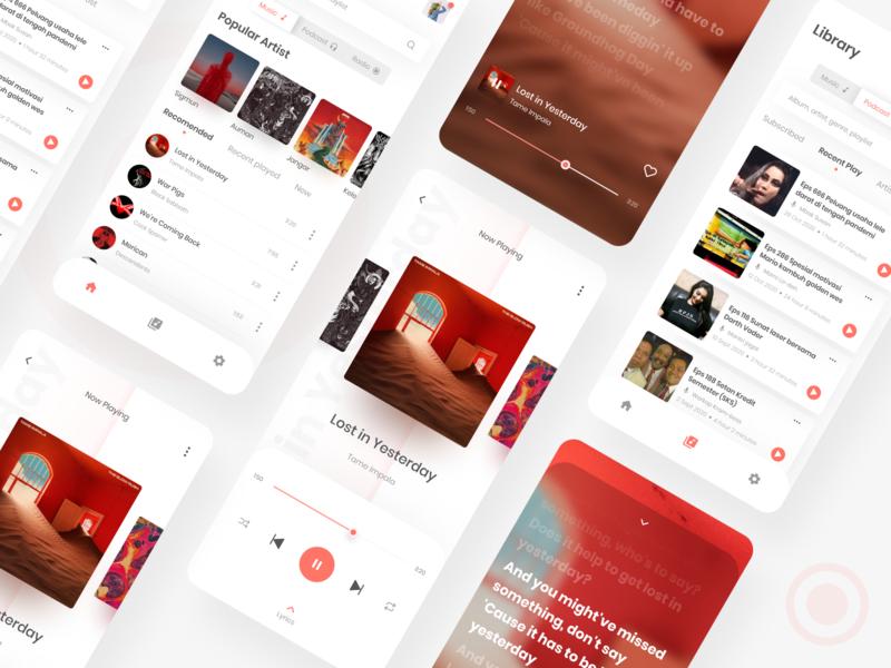 Music stream apps exploration app design streaming app typogaphy music music app minimal application branding mobile app design mobile app mobile app clean flat ui design