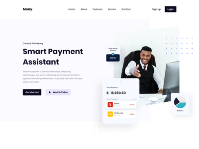 Mony Payment Assistant Landing Page assistant app emoney fintech finance payment minimalist minimal header branding web hero clean homepage landing page website design ui