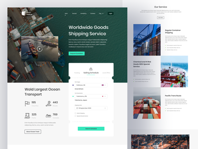 Ocean Track Cargo Shipping landing page explore flat minimalist minimal delivery service editorial shipping cargo branding header web hero homepage clean landing page website design ui