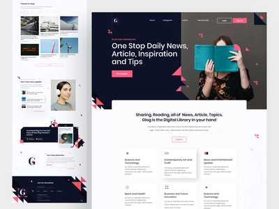 News and article landing page exploration geometric graphicdesign article reading app reading minimalistic typography minimalism minimal clean app header branding web hero clean homepage landing page ui design