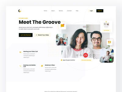 Groove Call landing page exploration clean ui minimal header branding web hero clean homepage flat website landing page design ui