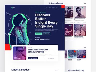 Noise Podcast landing page editorial lookbok clean service uiux design graphic design minimal podcast branding hero website homepage landing page ui design