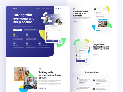 Strout Communication App landing page full lookbook layout videocall message chat communication chatting minimalism branding flat clean website homepage landing page design graphic design ui