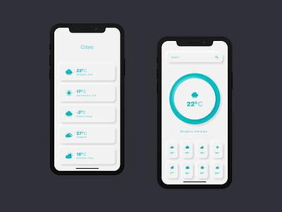 Weather App weather app ios mobile neumorphism