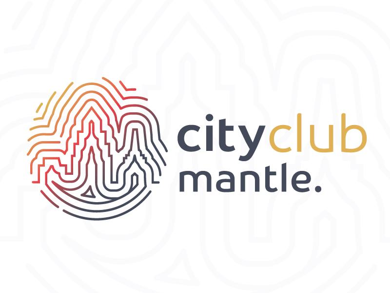 Mantle City Club Logo thumbprint gradient monoline tech logo