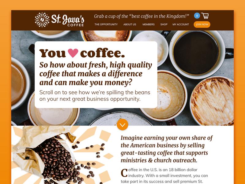 St. Java's Website web preview web design desktop website church outreach coffee