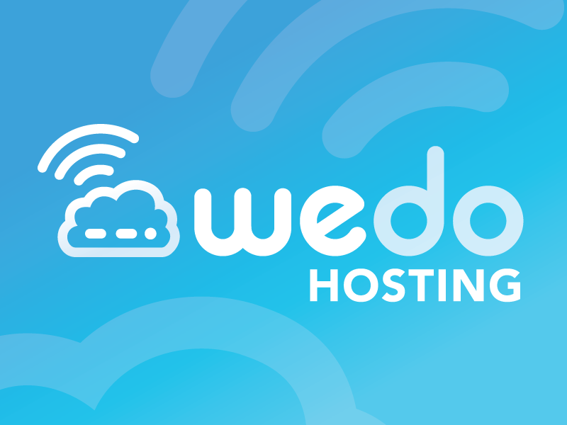 wedo hosting rounded type technology blue monoline cloud hosting tech logo