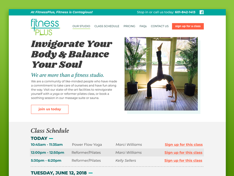 FitnessPlus Website preview web design clean website desktop white space yoga