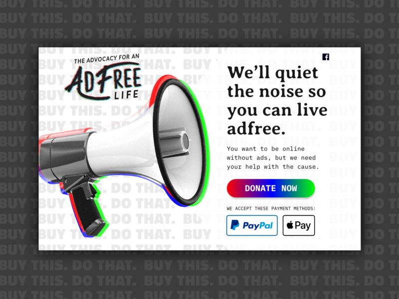 AdFree Donation Page glitch effect glitch web design donation page landing page